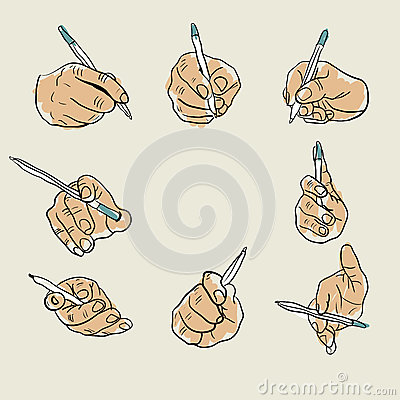 Sketch of hand with pen Vector Illustration