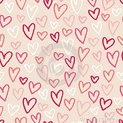 Sketch Hearts Seamless Background Pattern