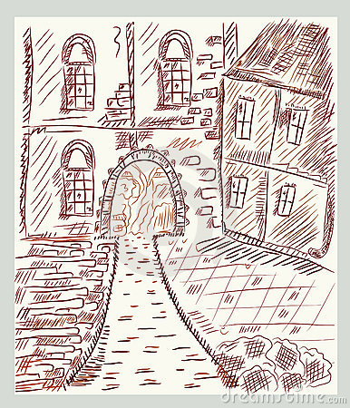 Sketch of historical  town