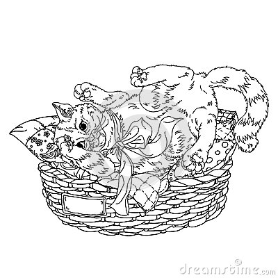 Sketch Illustration Of Playful Cats Sleeping Sitting