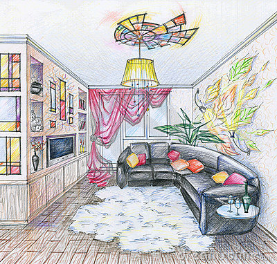 Sketch of interior of living room