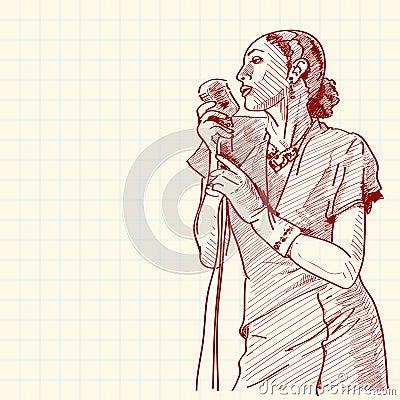 Sketch of a jazz singer
