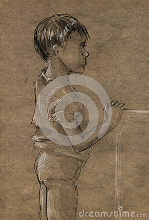 Sketch of a little boy standing
