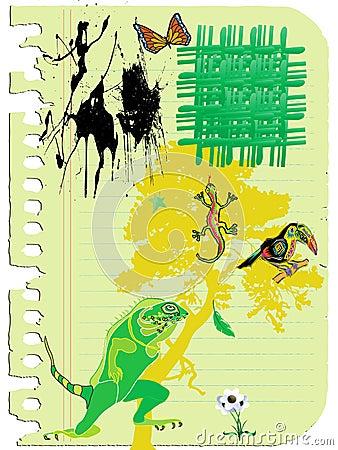 Sketch of lizards and bird