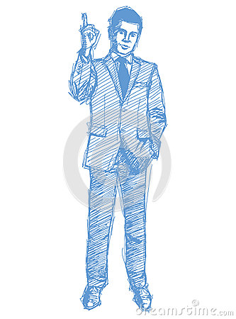 Sketch male in suit