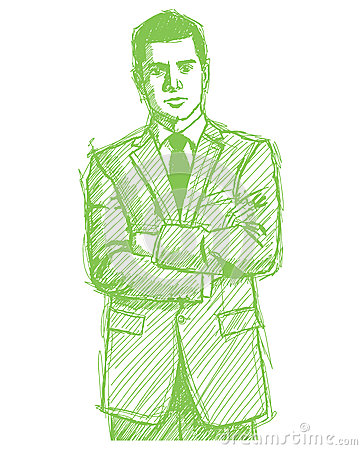 Sketch Man Businessman In Suit