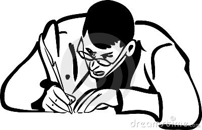 Sketch of a man with glasses writing quill pen