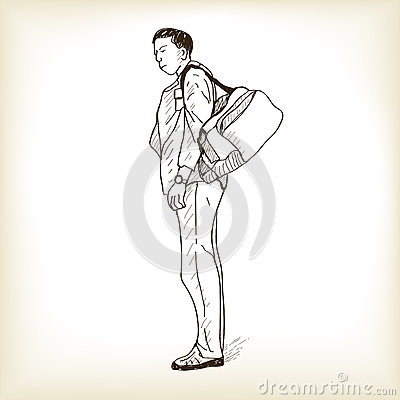 Sketch a man standing and waiting for travel, free hand draw vec Vector Illustration