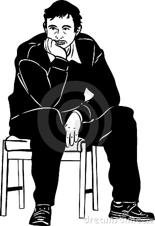 Sketch of a man thought sitting on a stool