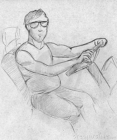 Sketch of a man at the wheel