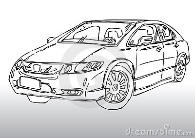 Sketch of modern car