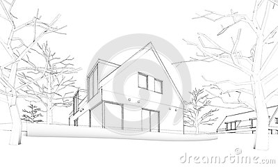 Sketch of modern house on hill – situation