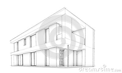 Sketch of modern house – only house