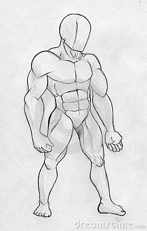 Sketch of a muscular man - front view