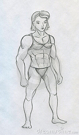 Sketch of a muscular woman