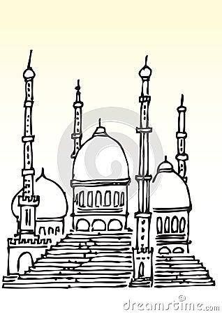 Sketch of Muslim mosque