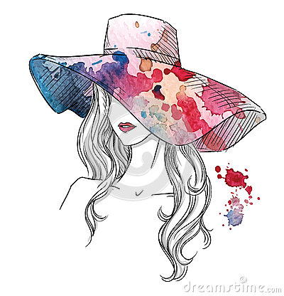Free Sketch Of A Girl In A Hat. Fashion Illustration. Hand Drawn Royalty Free Stock Photo - 51636285