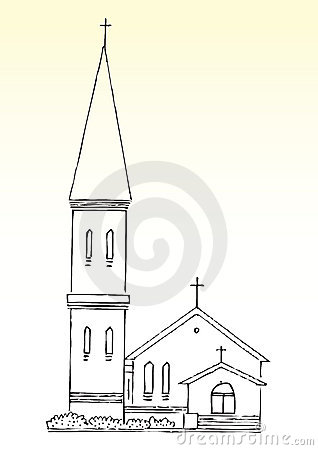 Free Sketch Of Church And Spire Royalty Free Stock Images - 12814439