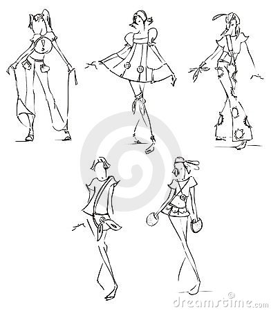 Free Sketch Of Fashion Dresses Stock Photos - 16247373