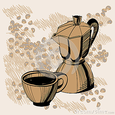 Free Sketch Of Mocha Coffee Maker And Coffee Cup Royalty Free Stock Images - 25393889