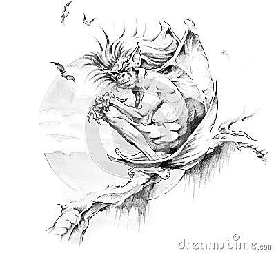 Free Sketch Of Tattoo Art, Gargoyle Stock Photography - 17128562