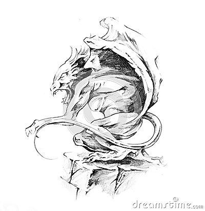 Free Sketch Of Tattoo Art, Gargoyle Stock Photo - 17129280