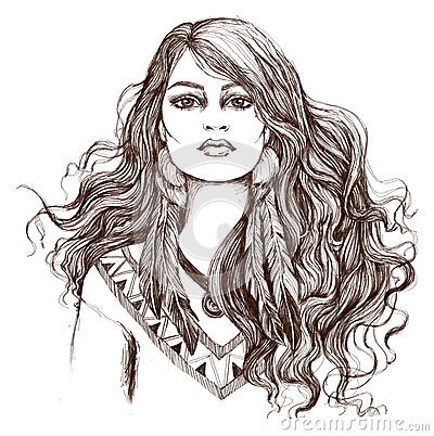 Free Sketch Of Tattoo Art, Portret Of Lovely American Indian Girl. Stock Image - 73542221