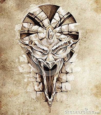 Free Sketch Of Tattoo Art, Rock Gargoyle Mask Stock Images - 23956174