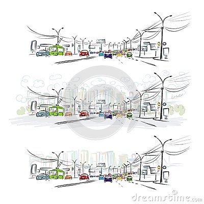 Free Sketch Of Traffic Road In City For Your Design Royalty Free Stock Photos - 36049888