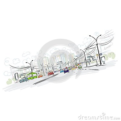 Free Sketch Of Traffic Road In City For Your Design Royalty Free Stock Photos - 36050548