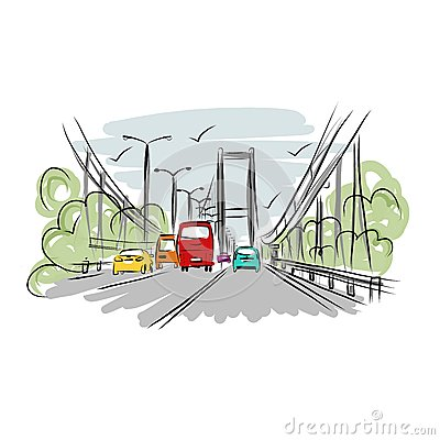 Free Sketch Of Traffic Road In City For Your Design Royalty Free Stock Photo - 43994625