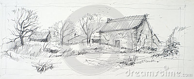 Sketch Of An Old Barn Stock Images Image 35181954