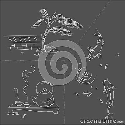 Sketch of Oriental garden life scene.