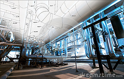 Sketch of piping design mixed with industrial equipment photos