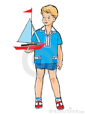 Sketch Of Pretty Boy With Boat Model Royalty Free Stock Photos - Image: 23336198