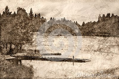 Sketch of a Restful Summer Lake Stock Photo
