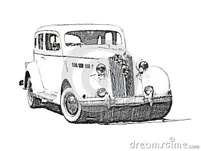 Sketch retro vintage white luxury car