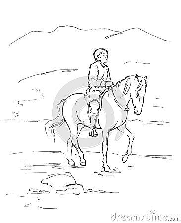 Sketch of  rider
