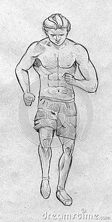 Sketch of a running man