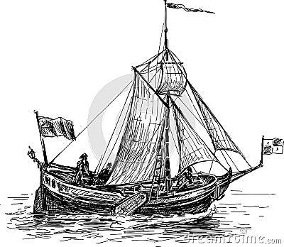 Vintage Sailboat Sketch Sketch Of The S...