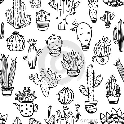 Free Sketch Seamless Pattern Of Cactus. Royalty Free Stock Photography - 92914217