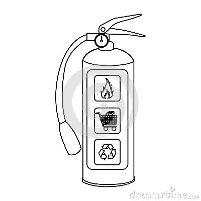 Sketch silhouette fire extinguisher icon stock for Fire extinguisher coloring page
