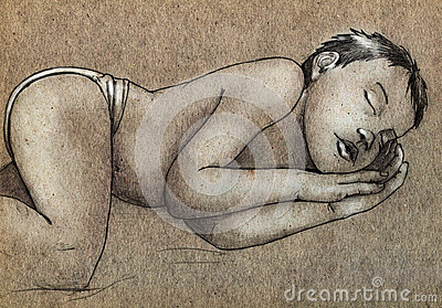 Sketch of a sleeping child