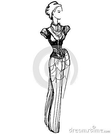 Sketch of a slender girl in a long dress
