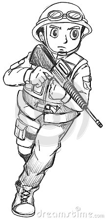 A Sketch Of A Soldier Stock Vector Image 44934318