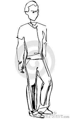 Sketch of standing fellow full length