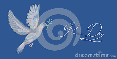 Sketch style peace dove symbol blue background EPS10 file.