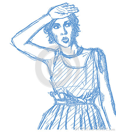 Sketch surprised girl