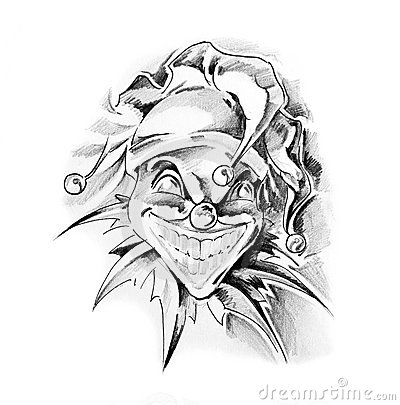 Evil Clown Tattoo Designs on Sketch Of Tattoo Art Clown Joker Thumb17129163 Jpg
