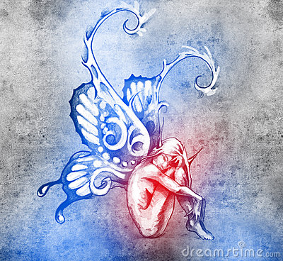 Sketch of tattoo art, fairy with butterfly wings